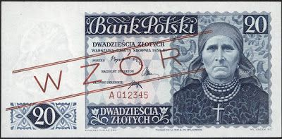 Poland currency 20 Polish złoty banknote of 1939 (not issued). Bank Polski - Bank of Poland - Government of the Republic of Poland in exile during World War II. Polish złoty, Polish banknotes, Poland banknotes, Polish bank notes, Polish paper money, Poland bank notes, Poland paper money.  Obverse: Woman from Silesia in national costume.