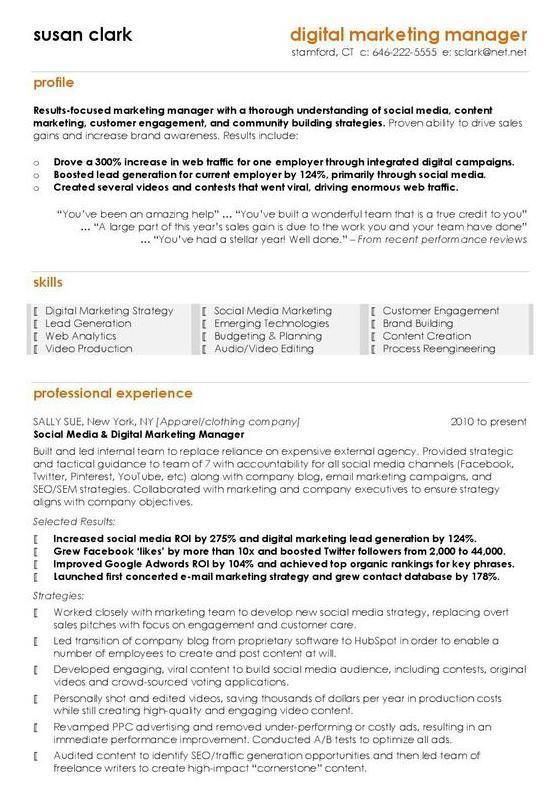 digital marketing manager cv