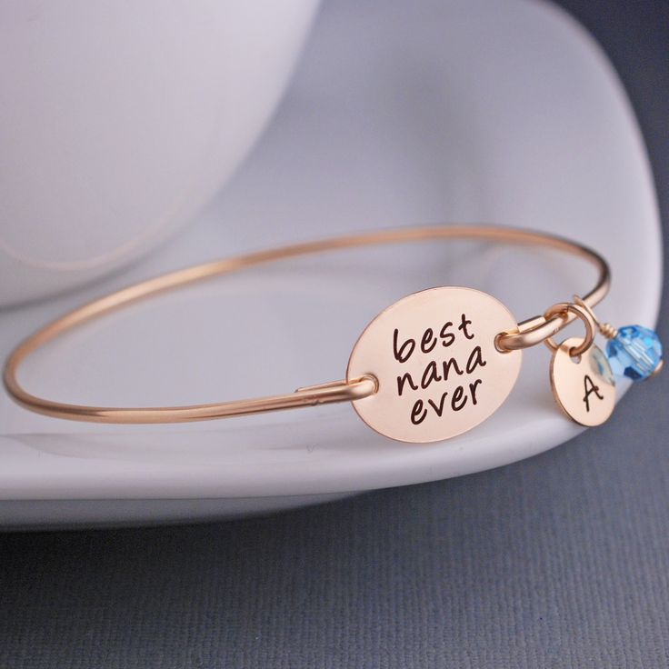 Gold Best Nana Ever Bangle Bracelet – personalized jewelry Christmas gift for Nana