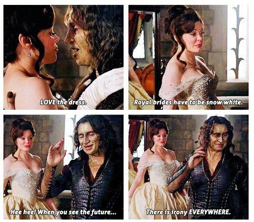 """There was another time when he was talking to Regina I think and it was in a dining room and there was a cooked bird on the table and Rumple says """"Roast Swan. *Rumple laugh* You'll get that later."""""""