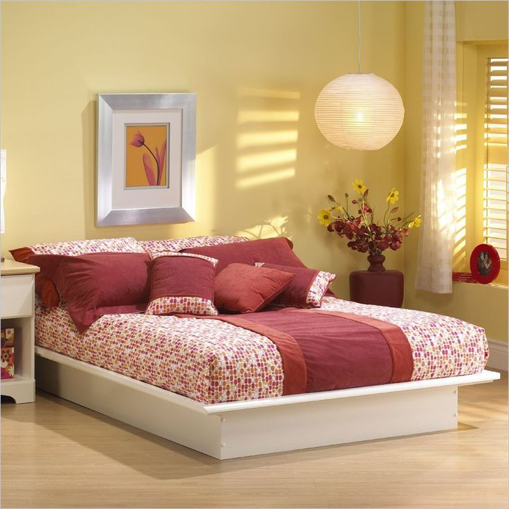 South Shore Newbury Modern Platform Bed Frame Only in White Finish, $156