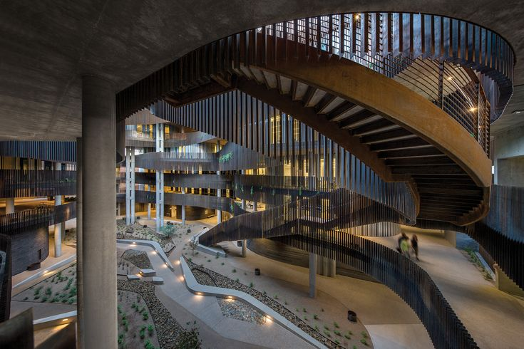 Phoenix firm Richärd+Bauer Architecture organized the University of Arizona's Environment + Natural Resources Building II around a full-height open-air space with the constricted proportions of a local geographical feature: the slot canyon. Read more: http://www.architectmagazine.com/project-gallery/environment-natural-resources-building-ii_o