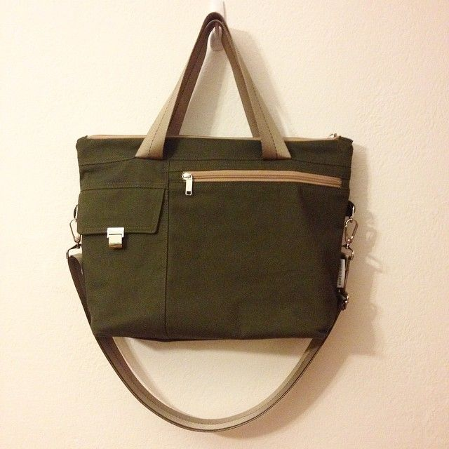 SS15 latest handmade handbag made with brushed cotton canvas in khaki green