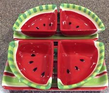 Boston Warehouse Watermelon Picnic Party Serving Set Ceramic Red Green Black