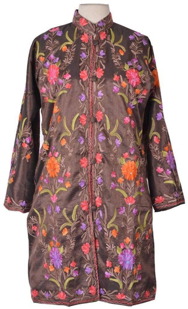 XL Silky Kashmir Long Jacket Fine Embroidery Party Coat Sherwani India ID12554 #VRA #LongPartyJacket