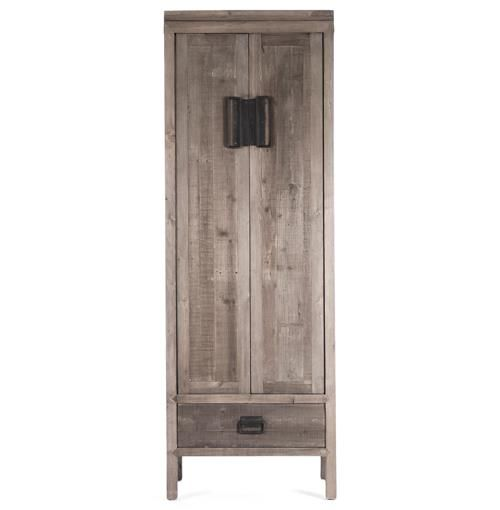 Standing tall and impressive, this reclaimed wood cabinet has rustic charm with a touch of industrial flare. Weathered, reclaimed oak is as sturdy as it is gorgeous, with four ample shelves and a lower drawer. The artisan-crafted cabinet makes a handsome wardrobe, linen closet or armoire accenting any decor.
