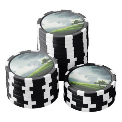 Dramatic summer thunderstorm & scenic landscape poker chips set - outdoor gifts unique cyo personalize