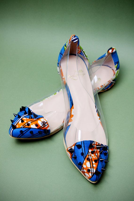 African print flat shoes blue flat shoes African ankara by Laviye