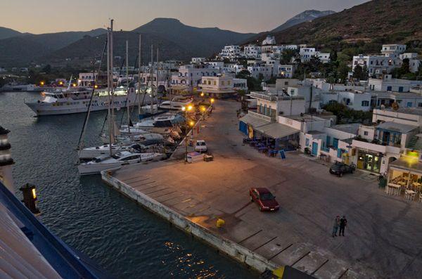 Port of Katapola, ferry departing
