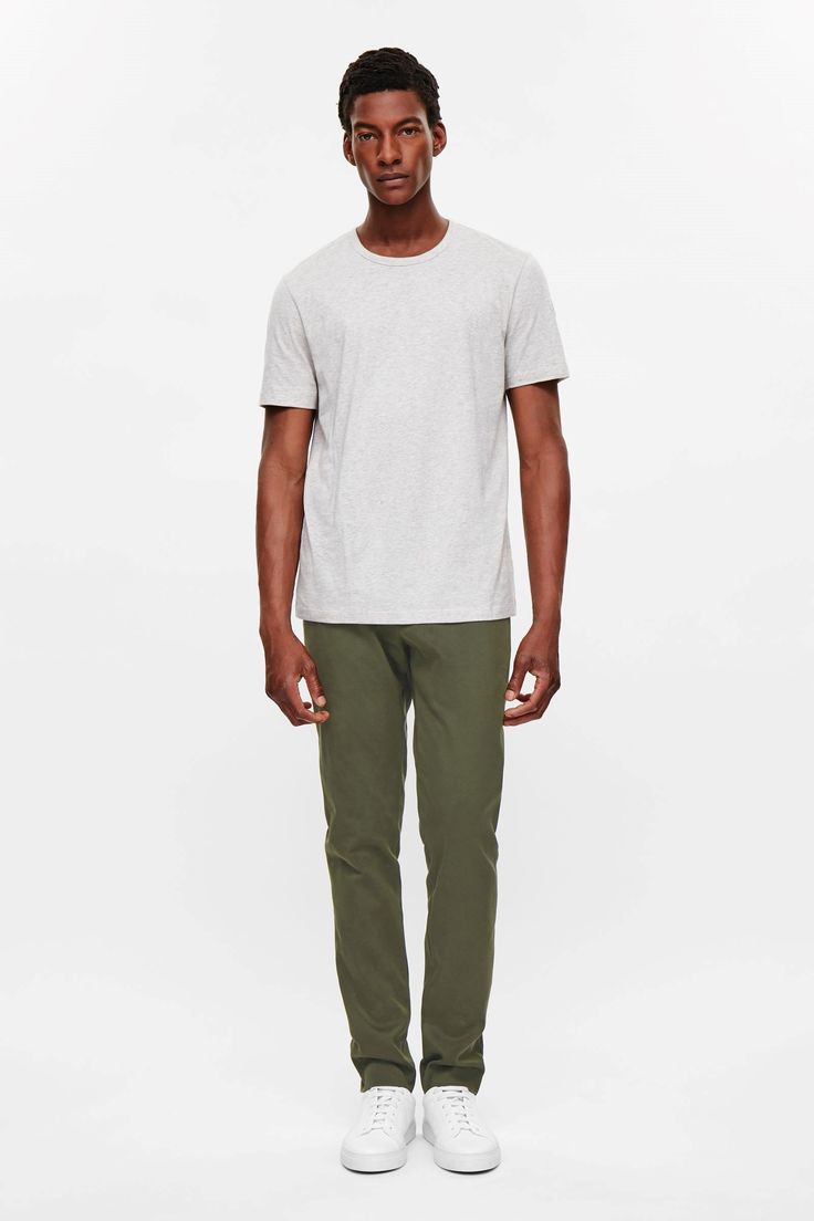 COS image 6 of Slim-fit cotton trousers in Khaki Green