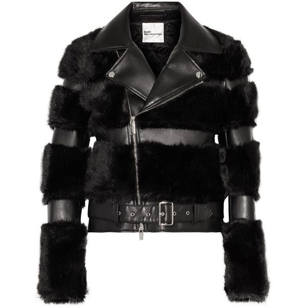 Noir Kei Ninomiya Faux fur and faux leather biker jacket (33 715 UAH) ❤ liked on Polyvore featuring outerwear, jackets, fake leather jacket, moto jacket, vegan moto jacket, motorcycle jacket and biker jacket
