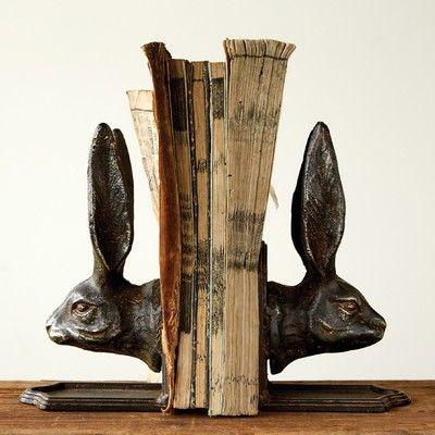 Cast Iron Rabbit Head Bookends, Set of 2