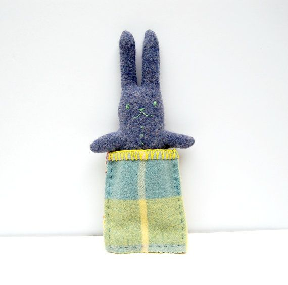 Bunny in a bag,  Reversible Toy, Awake Asleep Rabbit, Eco Friendly Softie, Animal Plush