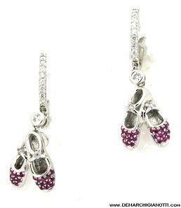 Tutù Gioielli Orecchini in argento zaffiri bianchi e rossi modello srord-scarpe www.demarchigianotti.com