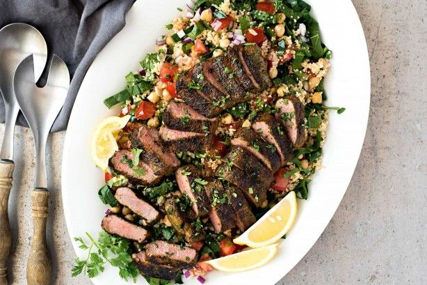 15-minute Moroccan lamb on couscous