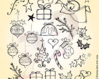 Hand Drawn Christmas Angel Tree Fir Stocking Candy Cane Presents Holly Leaves Stars Heart Bauble Digital Pencil Make Cards Elements 10525