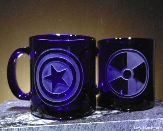 Avengers Inspired Captain America Symbol Blue Etched Glass Coffee