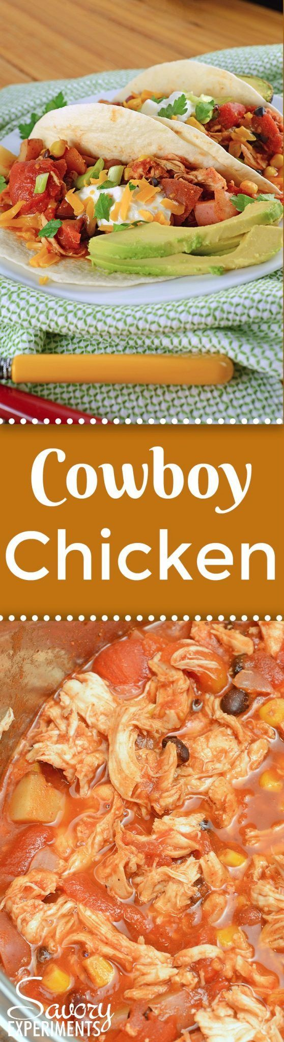 Slow Cooker Cowboy Chicken is an easy chicken recipe your whole family will love packed with corn, potatoes, bean and a zesty taco seasoning! #slowcookerrecipes #easychickenrecipes www.savoryexperiments.com