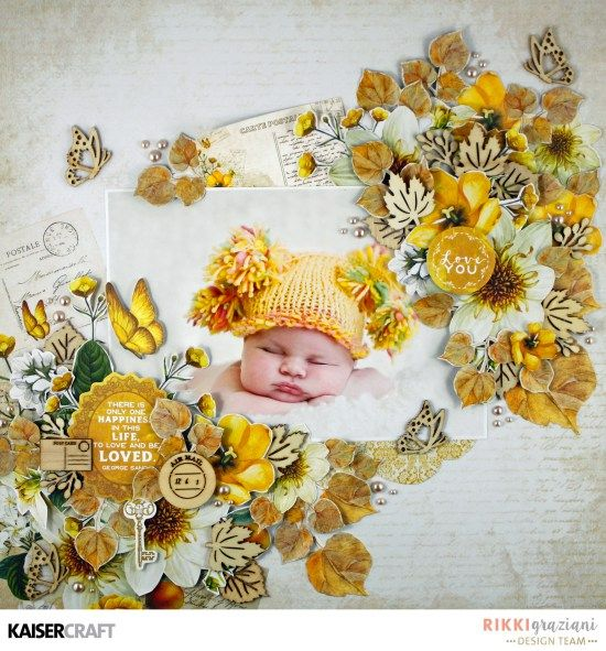 July Blog Challenge: 'Love' Layout by Rikki Graziani Design Team member for Kaisercraft Official Blog. Layout made using the July 2017 'Golden Grove' collection. Learn more at kaisercraft.com.au/blog - Wendy Schultz - Inspiring Creations.
