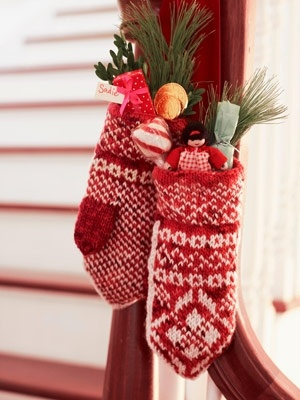 stuff mittens with fun holiday things and hang for easy decorations