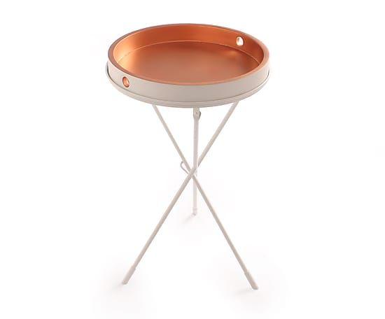 Table d'appoint VALERIE bois de manguier, blanc et cuivré - Ø42