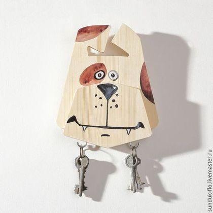 """Wooden key holder /Прихожая ручной работы. Ярмарка Мастеров - ручная работа. Купить Настенная ключница """"Барбоскин"""". Handmade. Бежевый, ключница собака"""