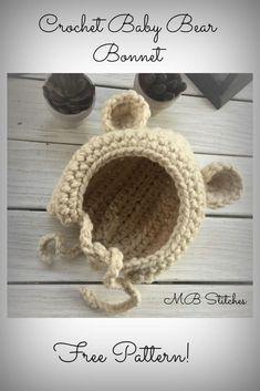 Crochet Bear bonnet hat - Free Pattern! www.mbstitches.com