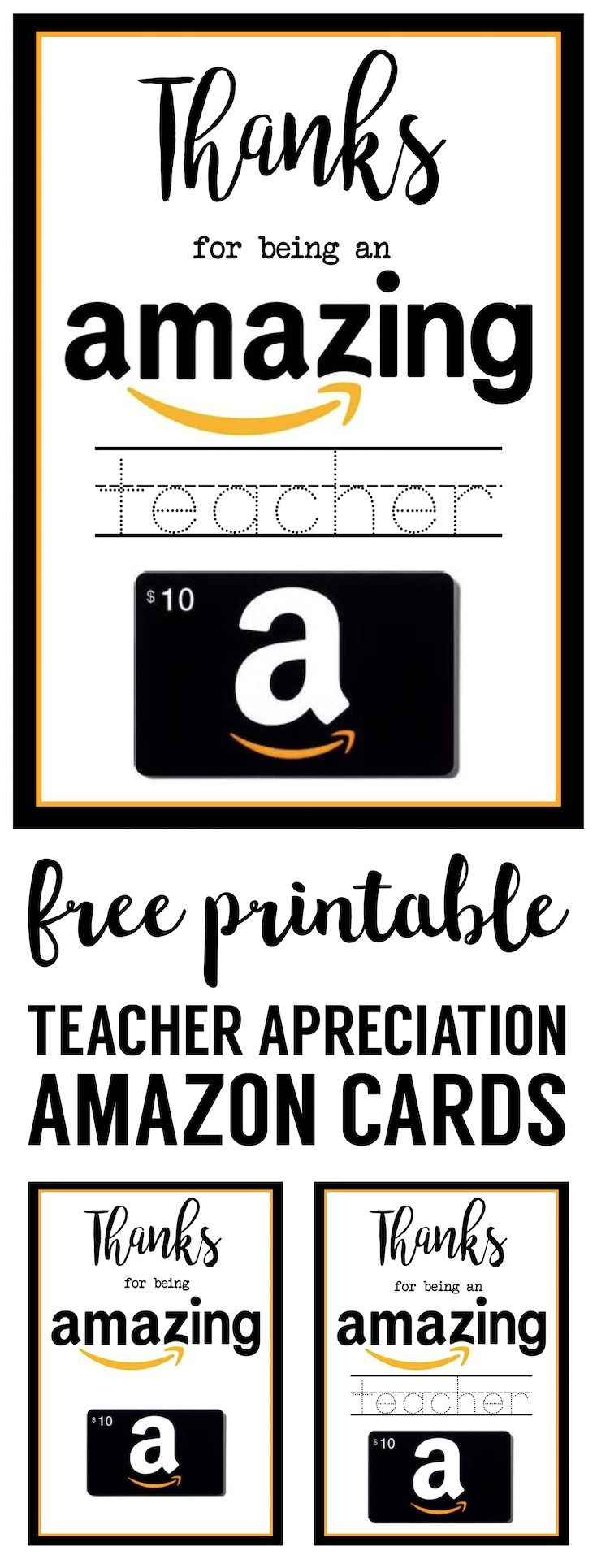 Teacher Appreciation Amazon Card free printable. Print this card for your kids end of the year teacher gift. Amazing amazon DIY card gift.