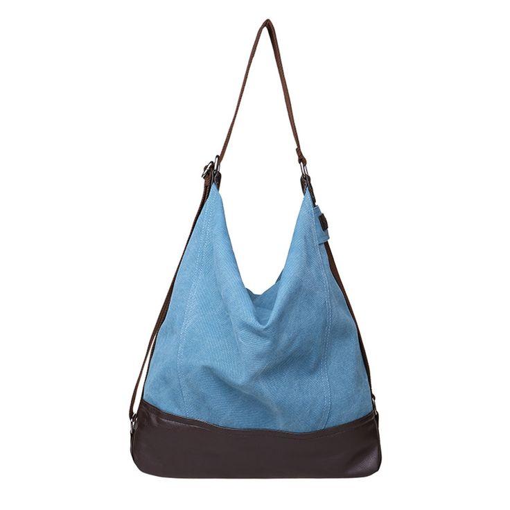 Amazon.com:TECOOL(TM) キャンバス 帆布 レトロ 多機能バッグ 大容量カバン ショルダーバッグ ハンドバッグ 旅行 ショッピング(青)