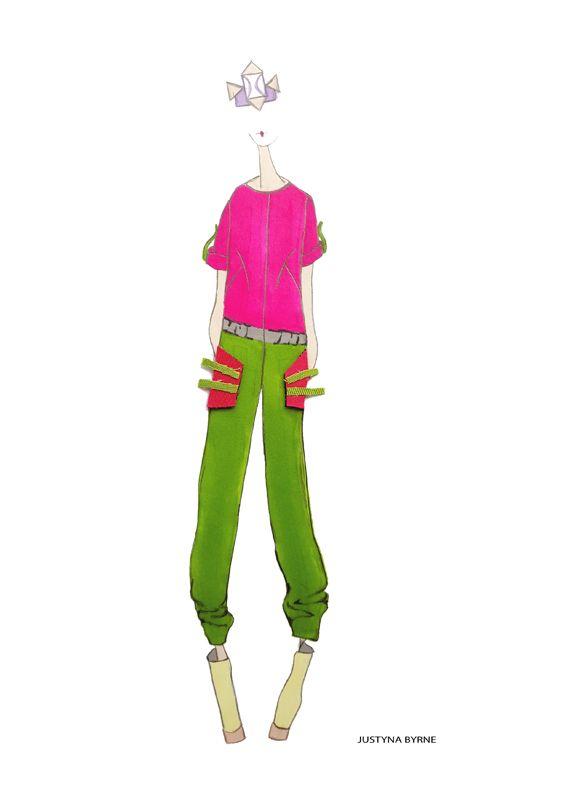Grafton Academy of Fashion Design student Justyna Byrne mixed media fashion illustration. #pantone #collage