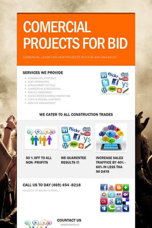 COMERCIAL PROJECTS FOR BIDR.A.W TALENT SALES  RESIDENTIAL & COMMERCIAL CONSTRUCTION LEADS. LIKE US ON ANY SOCIAL MEDIA SITE AND GER 25% OFF