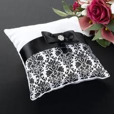 Lillian Rose Black Damask Collection ring pillow. Sold at Second I Do's