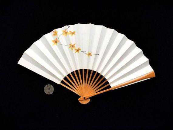 Japanese Hand Fan Vintage Paper Fan Mai por VintageFromJapan