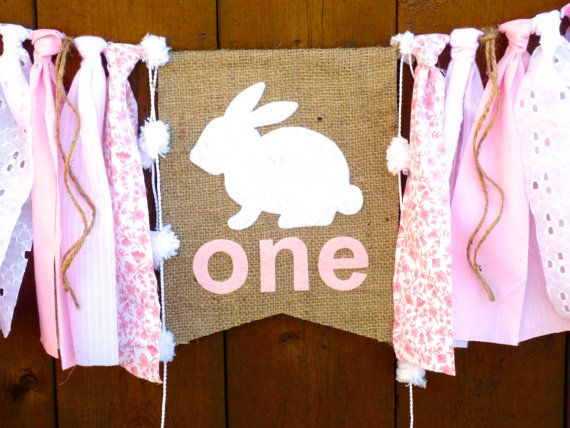 BUNNY Birthday Banner Highchair High Chair by SeacliffeCottage
