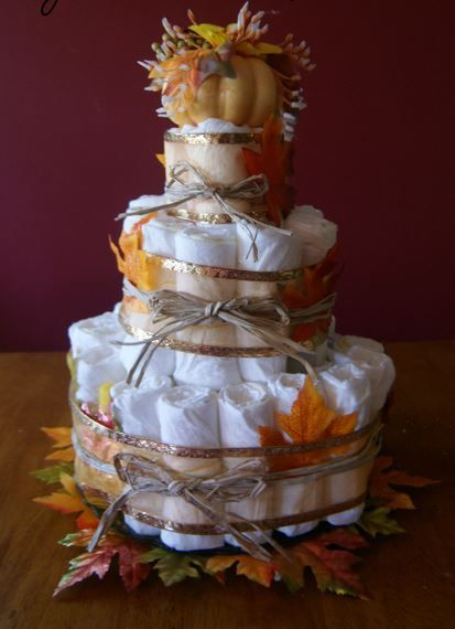 Picture of Fall Baby Shower Diaper Cake Picture Tutorial