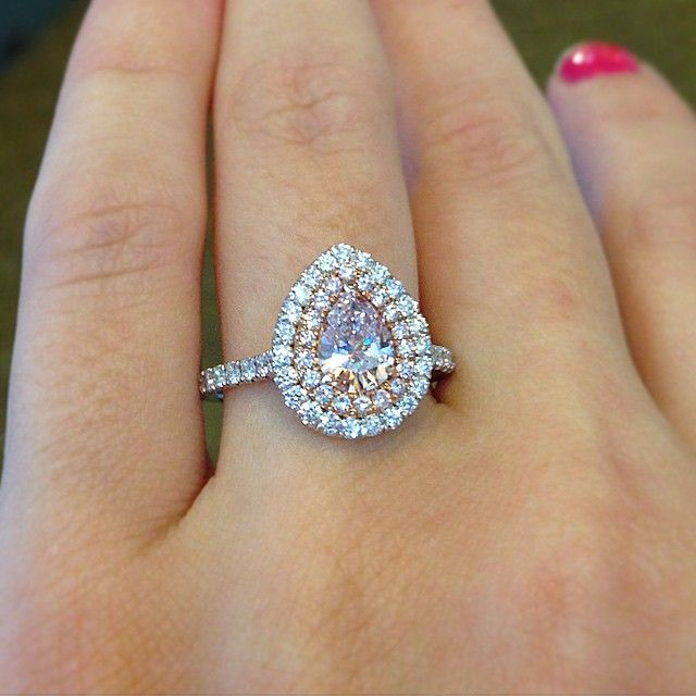 Pink diamond pear shaped halo engagement ring