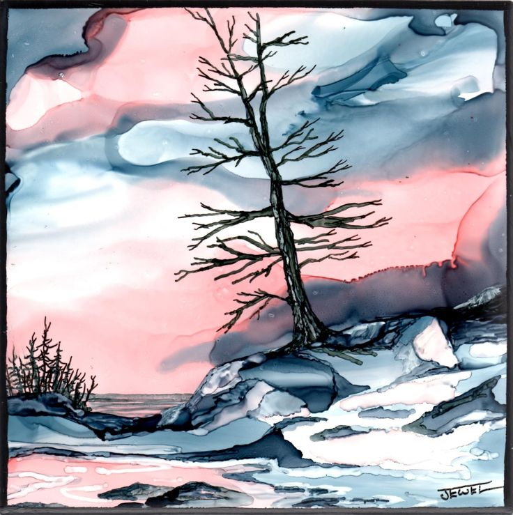 """The Last Day of Winter   by Jewel Buhay  alcohol ink on 6"""" ceramic tile"""