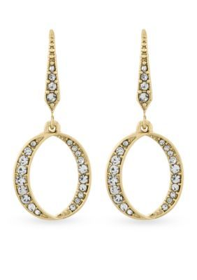 Laundry By Shelli Segal Women Gold-Tone Crossover Pave Hoop Earrings - Gold - One Size