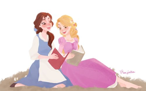 Belle and Rapunzel by punziella on tumblr ||| Tangled, Beauty and the Beast, Disney, princess