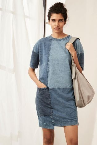 Give your denim collection a modern update with our gorgeous NEW patchwork dress!