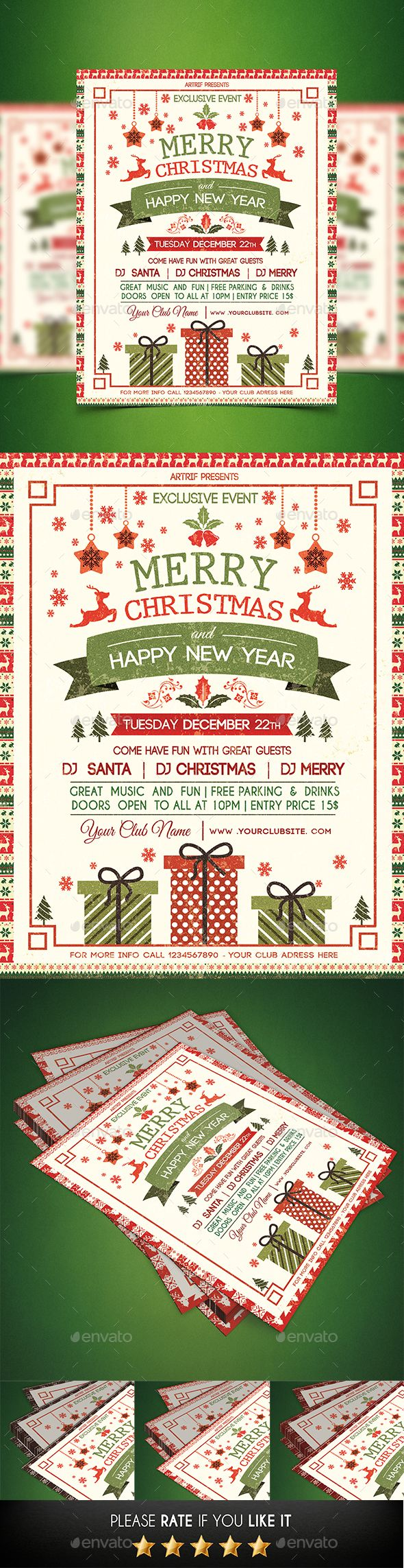 Christmas Party Flyer Template PSD #design Download: http://graphicriver.net/item/christmas-party-flyer/13597968?ref=ksioks