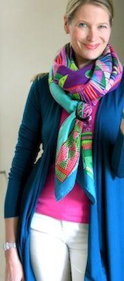 Hermès cashmere shawl (Ceintures et Liens) in a basic slide knot - MaiTai's Picture Book <3