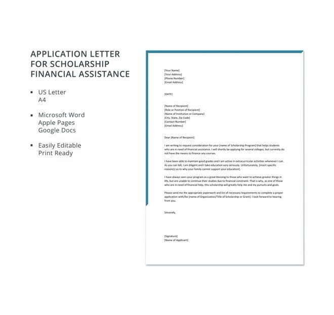 Application Letter For Scholarship Financial Assistance Template Free Pdf Google Docs Word Template Net Application Letters Scholarships Financial Assistance
