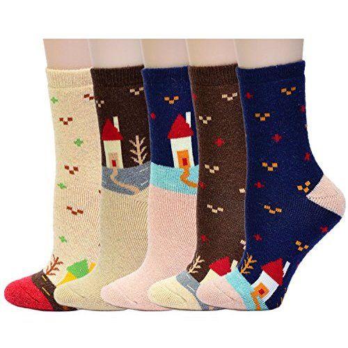 Yantu Damensocken Baumwolle frei komfortable Sportsocken Animal Cartoon Streifen Socken Prints Socks, 5 Paare Mehrfarbig (Pinguin)