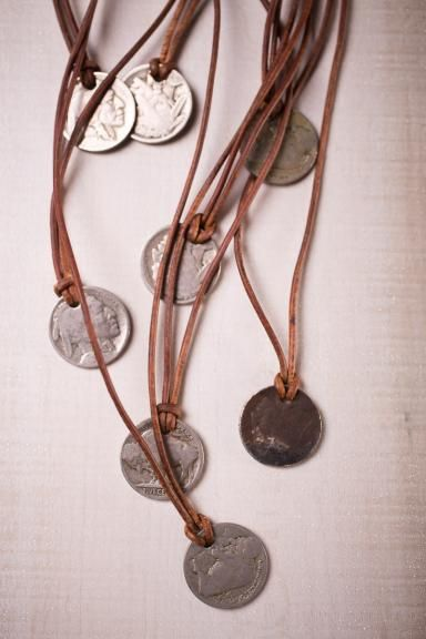 """Buffalo Nickel Necklace - With genuine leather, antiquated copper clasps, and an extender for extra length, the Buffalo Nickel Necklace is one of the coolest pieces you could snag. Handmade with circulated buffalo nickels that are between 75-100 years old, they make the perfect gift for anyone.  The Buffalo nickel also known as the """"Indian Head nickel"""" was a copper-nickel five-cent piece struck by the United States Mint from 1913 to 1938. It was designed by sculptor James Earle Fraser."""