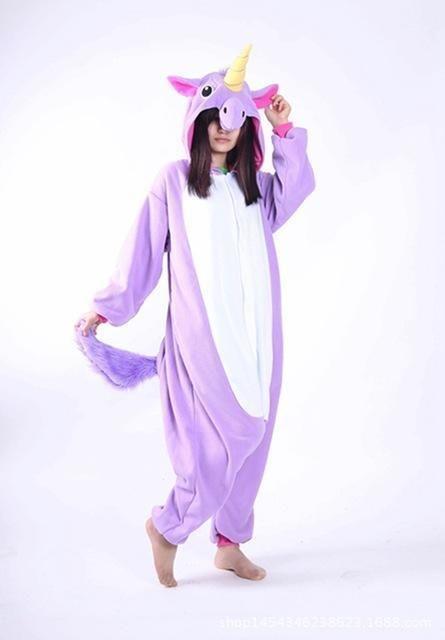 Adult Men Women Pajama Set Cartoon Pajamas Animal Halloween Hooded Coral  Fleece Sleepwear Unicorn e1bd0de2d