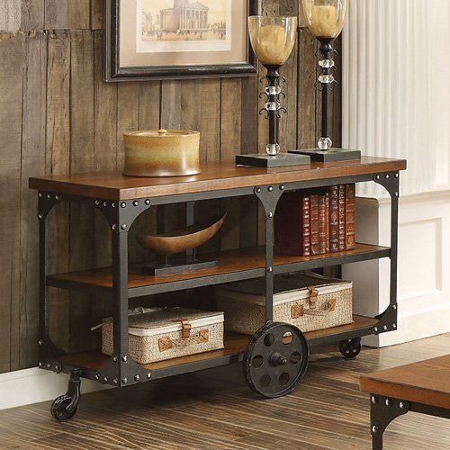 Coaster Furniture Industrial Sofa Table with Shelf and Casters | from hayneedle.com