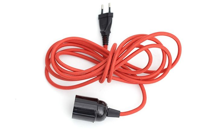 Textile Light Cable - Lt Red by Danlamp | MONOQI