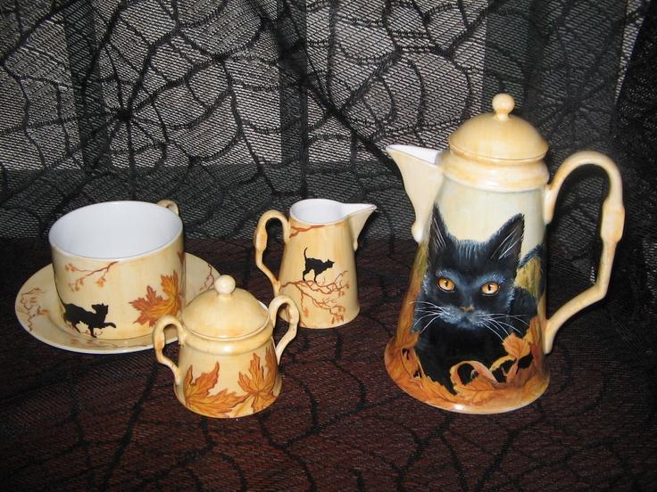New Ooak Hand Painted Halloween China Tea Coffee Set