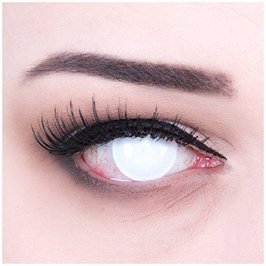 Meralens Blind White komplett weiße Kontaktlinsen Zombie Zombi weisse farbige Motivlinsen Jahreslinsen inklusive Gratis Behälter Plain White Eyes Colour Contact Lenses Color Contacts. Für Fasching, Karneval: Amazon.de: Alle Produkte